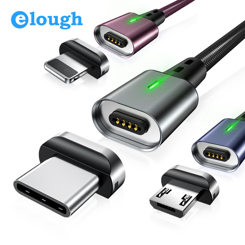 Elough Magnetic Charger Cable For iphone cable Micro usb Type c cable for HUAWEI P30 Magnetic cable fast charger USB C Data wire|Mobile Phone Cables|   - AliExpress
