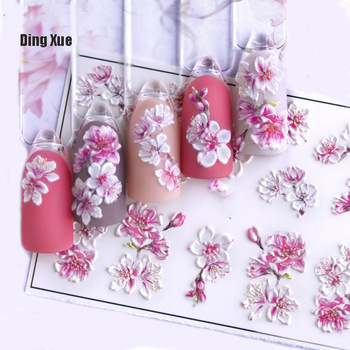 1pc 3D Acrylic Engraved  Nail Sticker Embossed White&Pink Color Flower Water Decals Empaistic Nail Water Slide Decals Z0342 1
