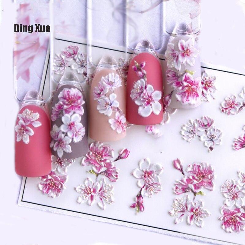 1 шт. 3D акриловая Выгравированная наклейка для ногтей тисненый белый и розовый цветной цветок Водные Наклейки эмпаистические наклейки для ногтей водные слайды Z0342|Стикеры и наклейки|   | АлиЭкспресс - Товары для красоты: бестселлеры
