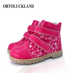 Ortoluckland Little Baby Girls Boots Children Tough Orthopedic Shoes Kids Butterfly Printing Leather Spring Autumn Casual Boots