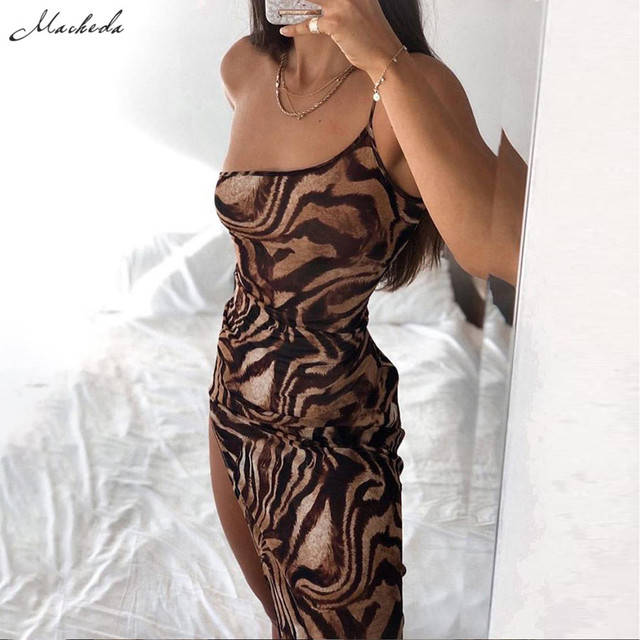 Macheda Women Fashion One-Shoulder Sling Bodycon Dress Summer Sleeveless Print Street Casual Long Dress For Party Club 2020 New 2