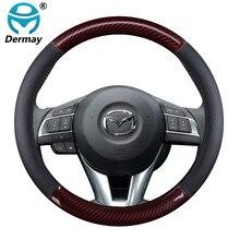Genuine Leather Car Steering Wheel Cover for Mazda 2 3 6 Axela Atenza Demio CX 3 CX 4 CX 5 CX5 CX 5 CX 7 CX 9 Auto Accessories