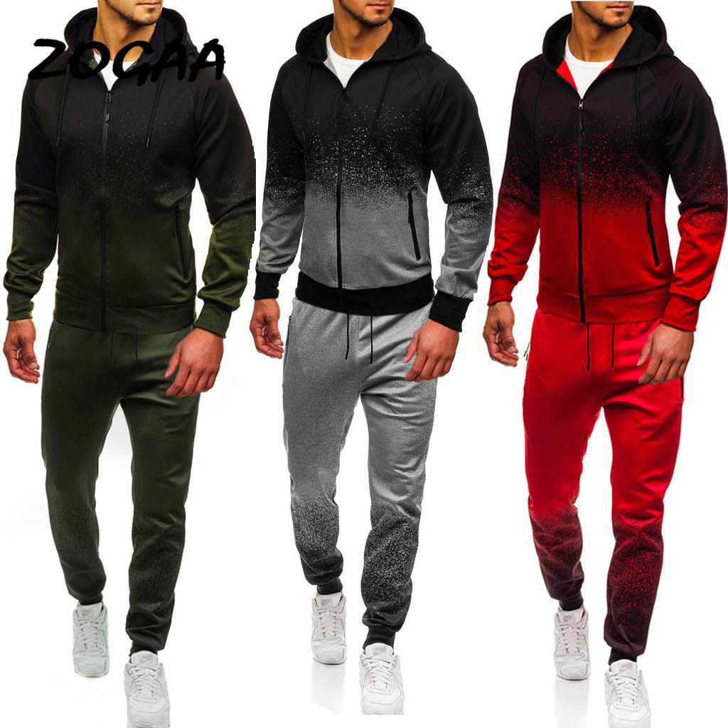 ZOGAA 2020 Men's Casual Sports Suit Gradient Stripes European And American Suit Three Colors Optional Sports Suit