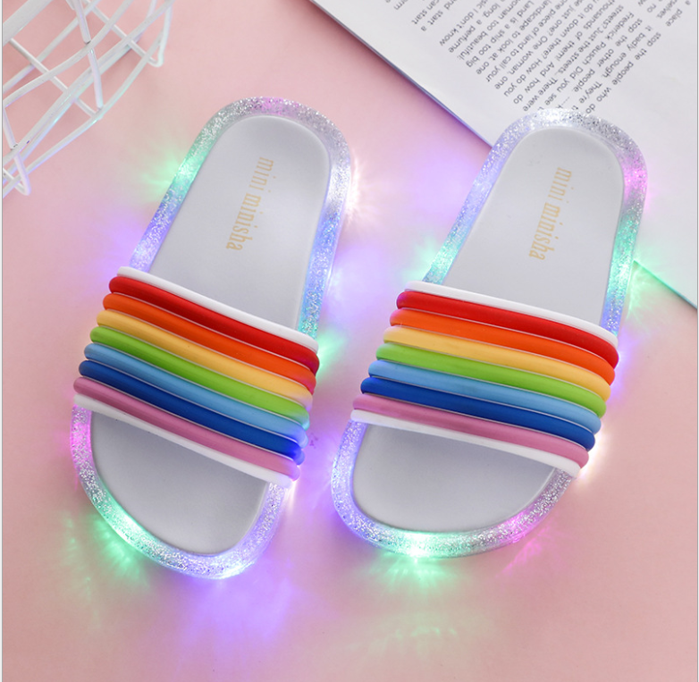 Sunny 2021 Footwear Luminous Jelly Summer Children's Led Slipper Girls Slippers Pvc Non-slip Beach Sandals Kids Rainbow Silvery Making Things Convenient For The People