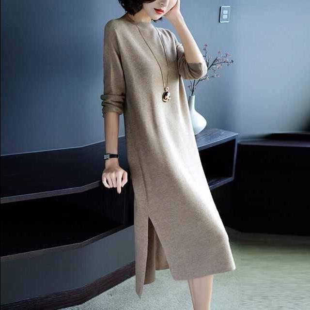 Hot Selling New Style Jersey Dress Loose-Fit Slimming Mid-length Base Shirt Elegant Fashion Sweater Dress Women's