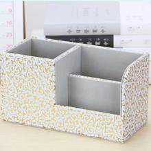 1pc Multi-function PU Desk Organizer Stationery Pen Storage Box SP99