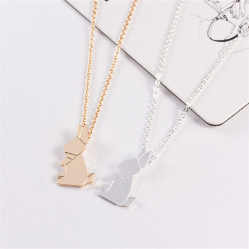 Fashion Stitching rabbit Necklaces Simple Silver Plated Long Chain Pendant Necklace Elegant Jewelry Birthday Gifts For Women in Chain Necklaces from Jewelry Accessories