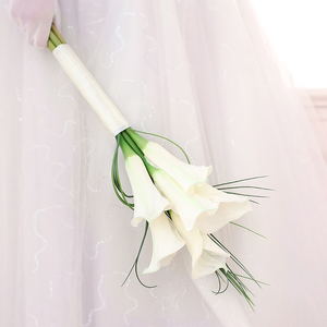 Image 2 - Kyunovia Real Touch White Calla Lily Wand For Bridesmaid Flower Girl Keepsake Mini Flower Wand Wedding Bouquet Bridal BY11