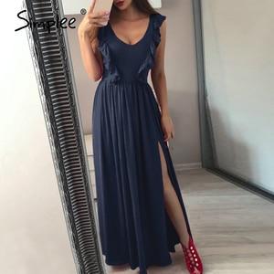 Image 1 - Simplee סקסי קפלים אדום ארוך נשים שמלת ראפלס O צוואר פיצול מקסי קיץ שמלת 2019 אלגנטי נשי מועדון vestidos דה פיאסטה