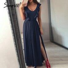 Simplee pieghettato Sexy rossa lunga delle donne Delle Increspature del vestito O collo split maxi vestito da estate 2019 Elegante femminile del club vestidos de fiesta