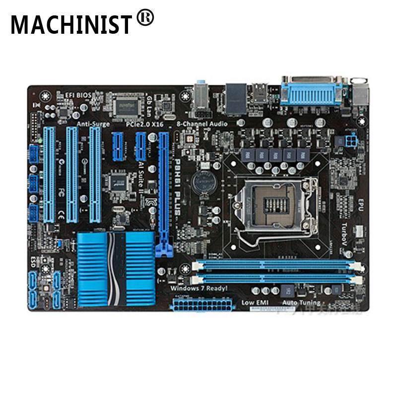 For ASUS P8H61 PLUS Desktop motherboard MB Intel H61 LGA 1155 ATX DDR3 16GB SATA3.0 USB2.0 100% fully Tested Free shipping
