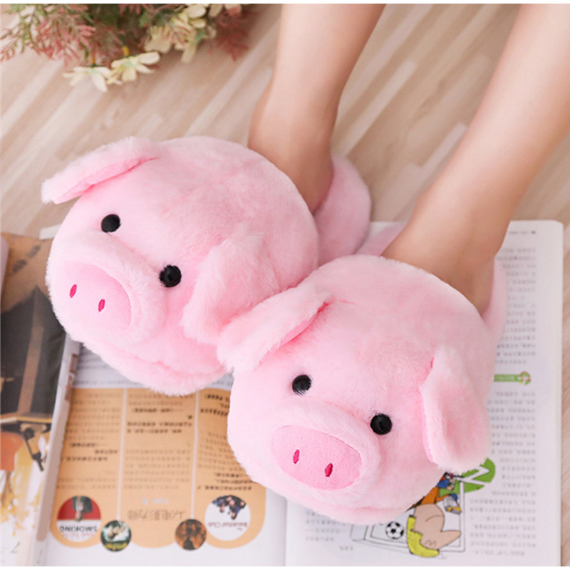 Winter Women Warm Indoor Slippers Ladies Fashion Cute Pink Pig Women's Soft Short Furry Plush Woman Comfort Casual Female Shoes