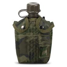 1L odkryty wojskowy stołówka butelka Camping piesze wycieczki plecak Survival butelka wody czajnik z pokrywą stołówka czajnik tanie tanio CN (pochodzenie) 901ml-1l