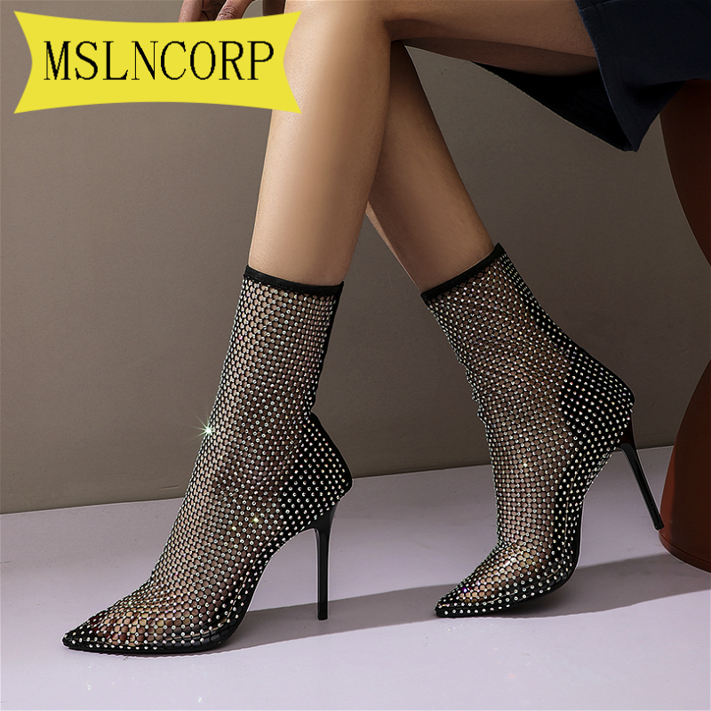 Plus Size 34-46 Bling Crystal Mesh Boots Women Runway High Heels Shoes Thin Heels Pumps Sexy Ladies Party Wedding Sandals Boot