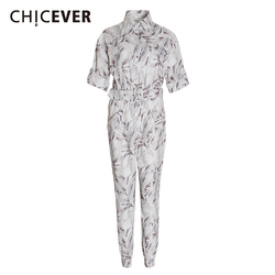 CHICEVER Casual Print Jumpsuits For Female Lapel Collar Short Sleeve High Waist With Sashes Sweet Style Women Jumpsuit Tide