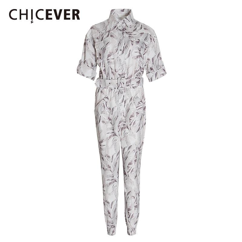 Mono con estampado Casual de CHICEVER para mujer cuello de solapa manga corta cintura alta con fajas estilo dulce mujer mono marea