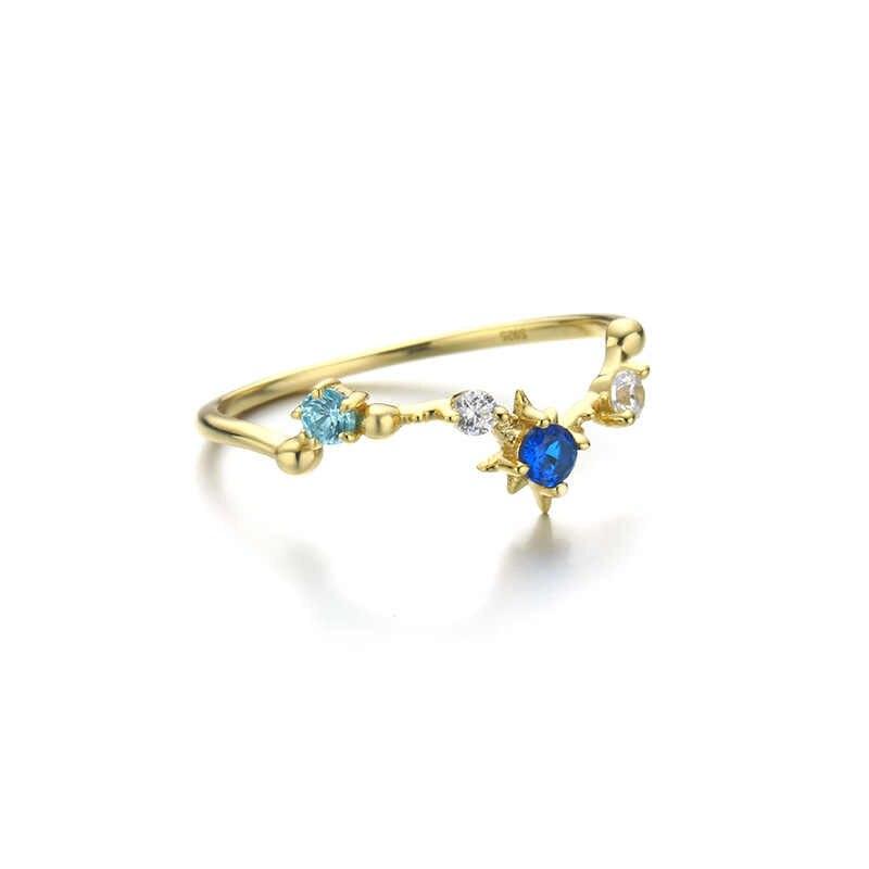 เงินสเตอร์ลิง 14K สีเหลืองทอง PLATED Star เครื่องประดับบุคลิกภาพแฟชั่นแหวน Zircon หญิงพลอยแหวน 925