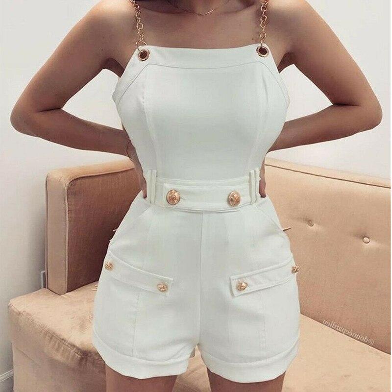 2020 Summer Women Leotard Rompers For Casual Bodysuits Chain Strap Shoulder Bodycon Short Jumpsuit Slim Playsuit Clubwear