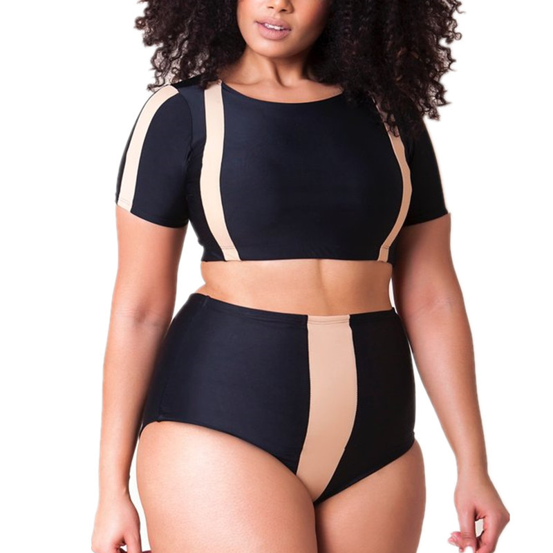Sexy Plus Size Bikini Set High Waist Swimsuit Push Up Short Sleeve Swimwear Women Bathing Suits Triangle Large Big Hot Biquini