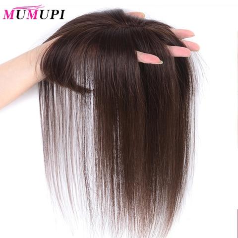 Toupee com Franja Material de Cabelo Sintético em Linha Feito à Mão Comingbuy para Mulher Mumupi Reta Cabelo Topper Hairpiece Parte Superior