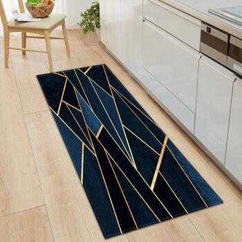 Alfombra geométrica antideslizante para cocina, sala de estar, balcón, baño, exterior, alfombra estampada, pasillo, alfombra absorbente para puerta, alfombra de oración