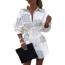 Turn Down Collar Letter Printed Shirt Dress Women Long Sleeve High Waist Plunge Dress Button Elegant Dresses Vestidos korean kawaii black elegant dress long sleeve button turn down collar autumn dress women s xl sweet simple casual dresses ladies