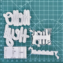 Naifumodo Words Hello Hi Whats Up Metal Cutting Dies for DIY Scrapbooking Craft Card Embossing Die Cut New Template Stencil