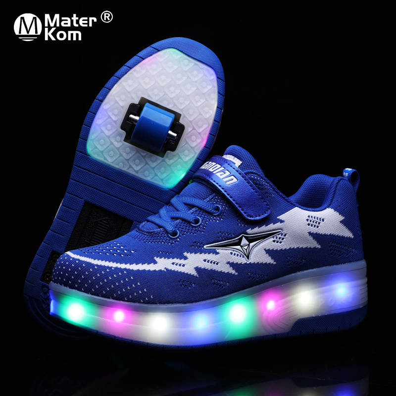 Size 28-43 LED Lighted Sneakers With Roller For Children Glowing Wheel Shoes USB Charging Luminous Skating Shoes For Kids Boys