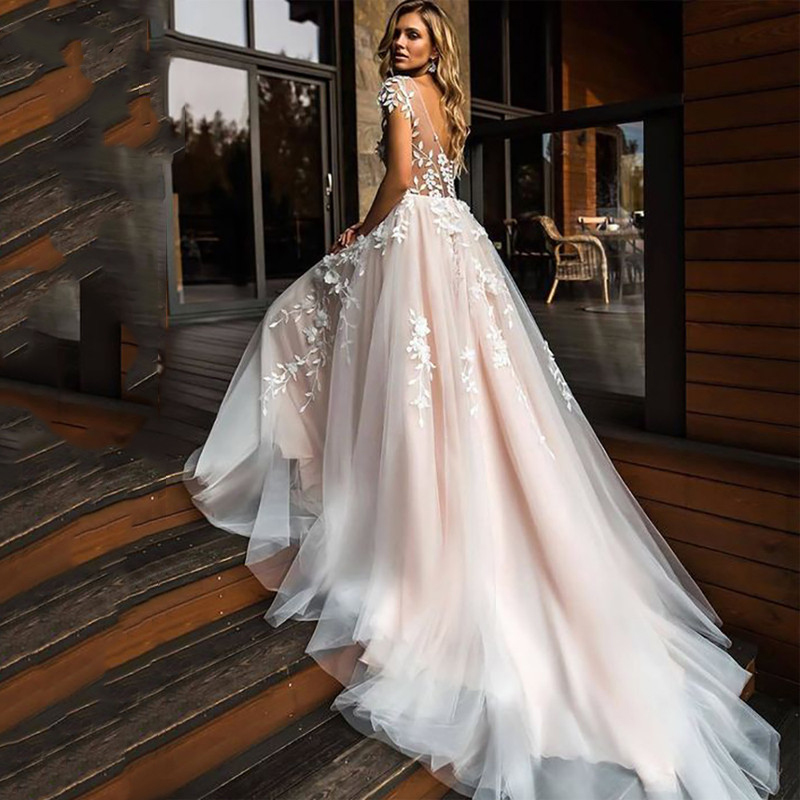 Luxury 3D Flowers Wedding Dress Cap Sleeve Sexy Backless Bride Dresses Tulle Sweep Train Wedding Gowns Custom Made