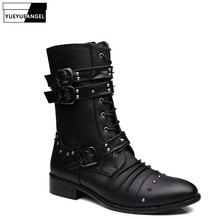 England Style Fashion High-Top Shoes Men Rivet Zip Pointed Toe Leather Ankle Boots Top Quality Motorcycle Boots Chaussure Homme