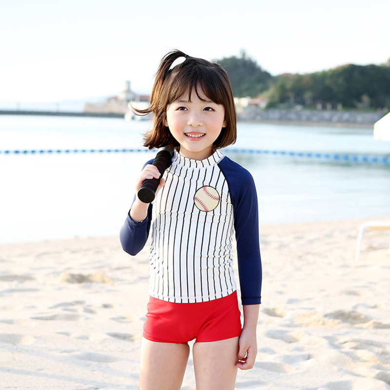 New Style Sun-resistant KID'S Swimwear Fashion Japanese-style Baseball Item Girls' Two-piece Swimsuit Swimming Cap Three-piece S