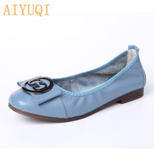 цены AIYUQI Women Shoes Ladies 2019 New Ladies Footwear Genuine Leather Shallow Mouth Flat Casual Women's Shoes Fashion Shoes Peas