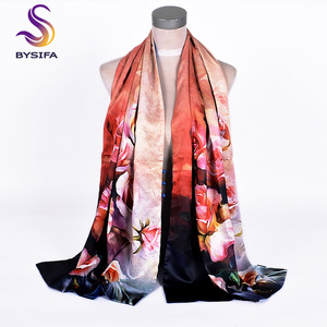 Image 3 - [BYSIFA] Women Army Green Silk Scarf Shawl Spring Autumn New Lotus Design Long Scarves Chinese Vintage Buttons Ladies Scarves