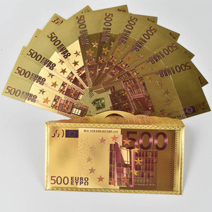 10pcs/lot 500 EUR Gold Banknotes in 24K Gold Fake Paper Money Euro Banknote for Collection(China)