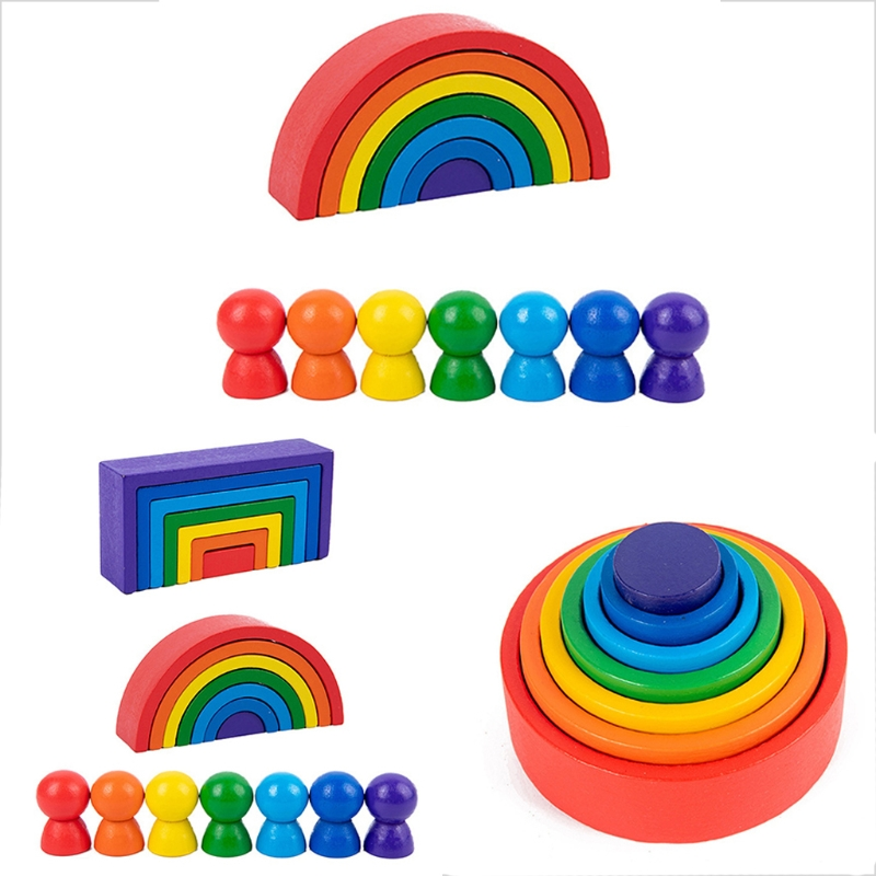 Wood Rainbow Blocks Natural Wooden Toy Children Block Rainbow Toy Building Block Educational Toy Gift