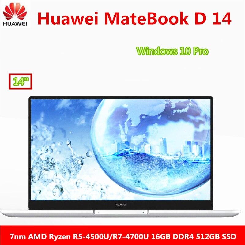 Ноутбук Huawei MateBook D 14, ноутбук 14 дюймов, 2020 дюймов, 7nm, AMD Ryzen r5-4500U/r7-4700U 16 Гб DDR4 512 Гб SSD, Windows 10 Pro, английский язык