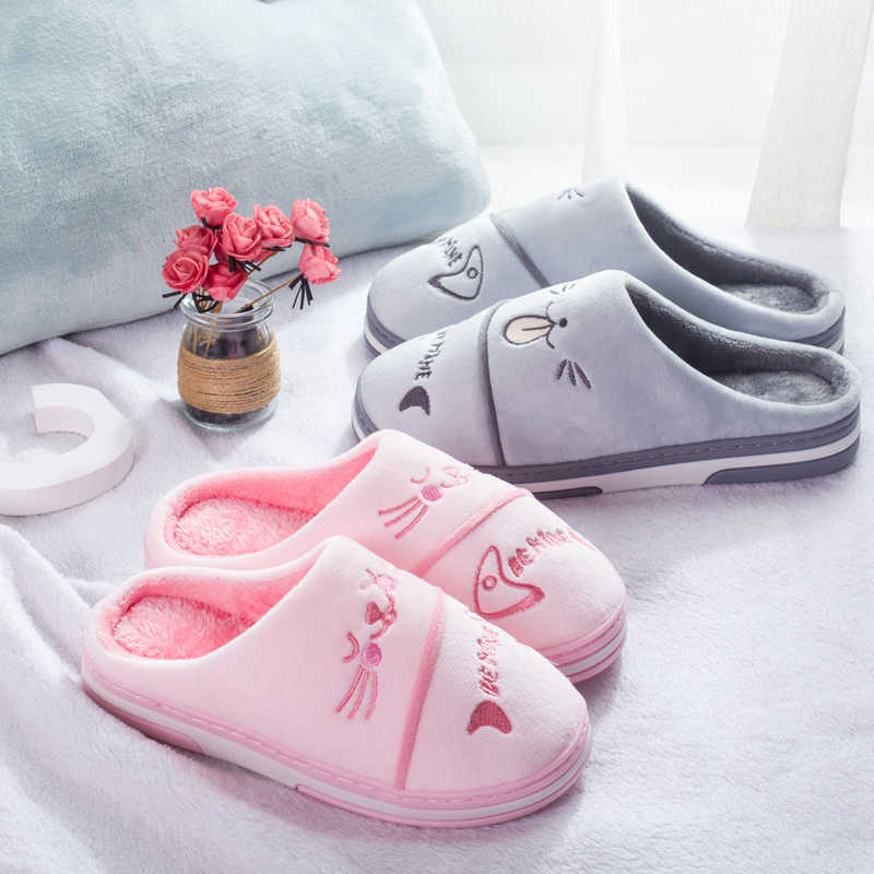Cute Winter Home Slippers For Couple Casual Cartoon Cat Soft Flufyy Flat Shoes Plus Size Slip On Indoor Slippers Women MT020