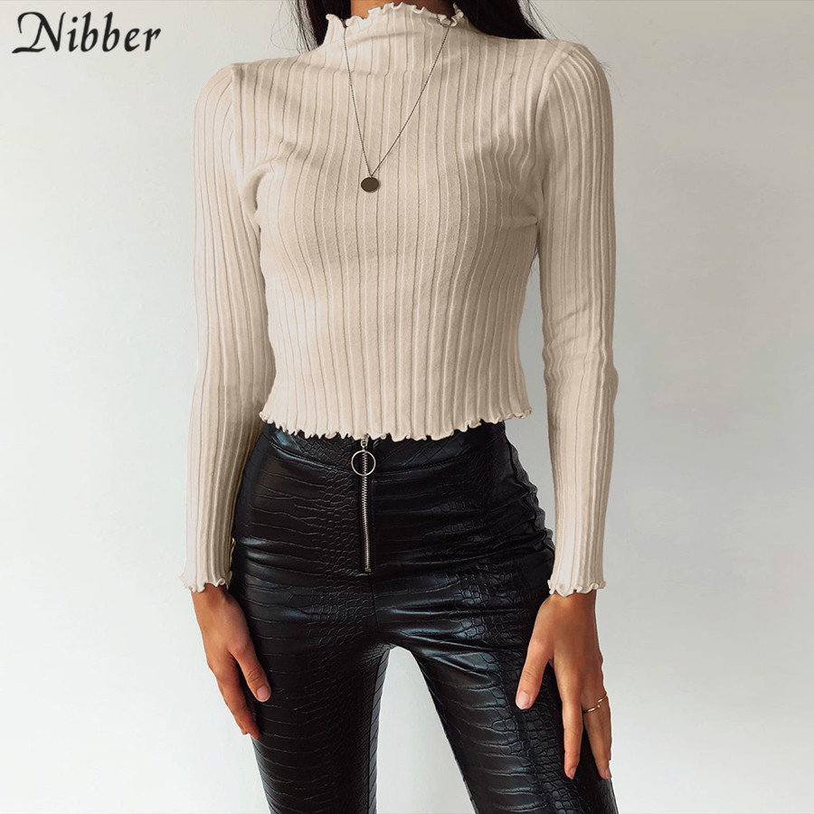 NIBBER French Romance  Ruffle Tops Women Long Sleeves Turtleneck Shirts 2020 Spring Autumn Soft Slim Stretch Solid Color Simple