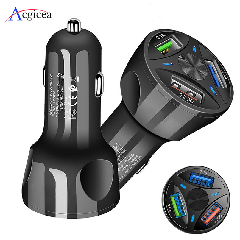 3 USB Car Charger Quick Charge 3.0 For Samsung S10 Xiaomi Car-Charger Fast Charging For iPhone 11 8 QC 3.0 Mobile Phone Chargers(China)