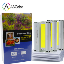 цена на 3Pcs Ink Cartridge 108 sheets Photo Paper Postcard Size KP-108IN Compatible For Canon Selphy CP1300 CP1200 CP910 CP900 Printer