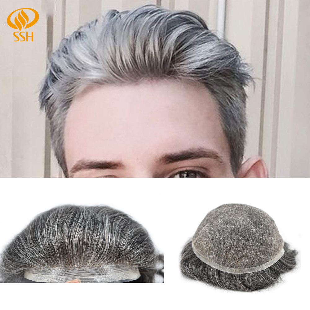SSH Remy Hair Full Swiss Lace Mens Toupee Natural Front Bleached Knots Human Hair Hairpieces