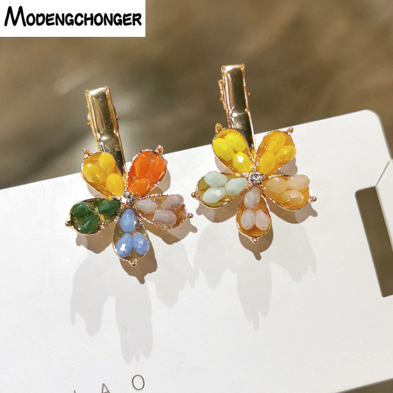 New Candy Colorful Crystal Flower Hairpins Alloy Hairgrip For Girl Bangs Clips Shinning Barrettes Women Fashion Hair Accessories
