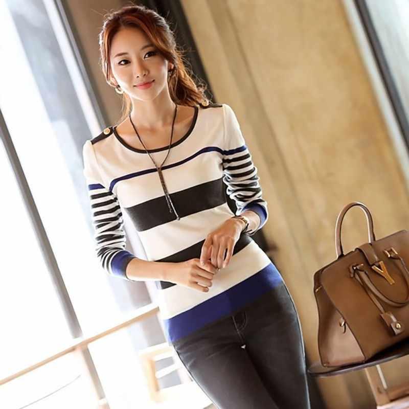 X 옷 여성 긴 소매 셔츠 여성 오-넥 슬림 맞는 가을 봄 스트라이프 기본 티셔츠 탑스 한국 옷
