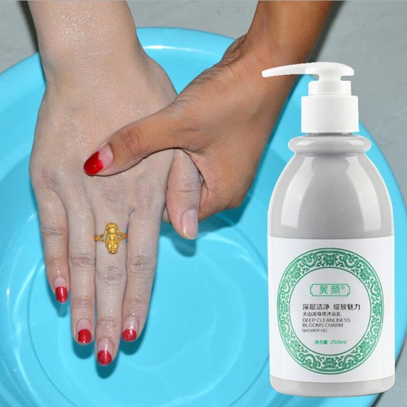 260ML Whitening Body Shower Gel Volcanic Mud Shower Gels Whole Body Fast Whitening Body Wash Remove Gel Whitening Cleaning Gel