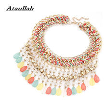 Ataullah Handmade Weave Boho Ethnic Muti-layer Women Necklace Charms Bohemia Chokers Necklaces Vintage Pendant Jewelry NW076(China)