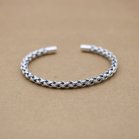 S925 Silver Retro Thai Silver Bracelet Open ended KING Personality Male and Female Baby Bangle