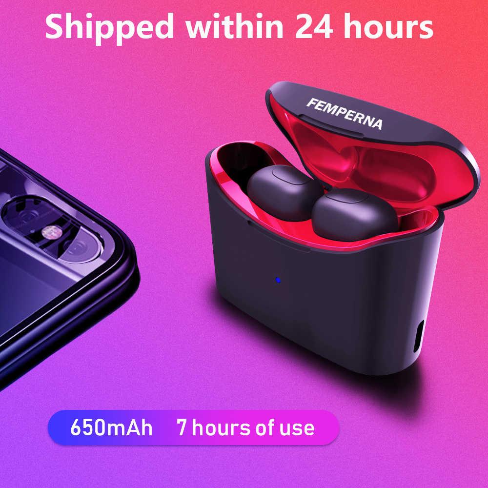Femperna Bluetooth наушники Bluetooth 5,0 Беспроводные наушники с зарядным устройством Спортивная гарнитура Telf