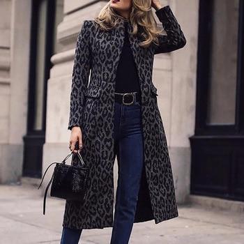 Leopard Print  Overcoat Women Fashion Winter Jacket Coat Outerwear New Clothing