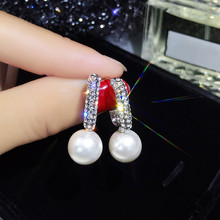 Dominated fine temperament Water Drop design pearl earrings 2019 Women contracted crystal style Drop earrings new fashion cheap Lead-tin Alloy TRENDY DM498M Simulated-pearl