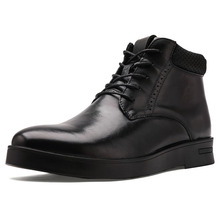 New Winter Autumn Men Casual Shoes Breathable High Top  Leather Fashion Black Mens Flat Business shoes *6630